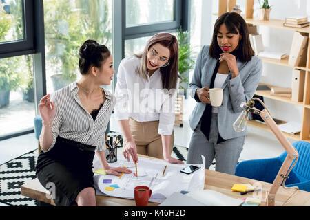 Groupe multiethnique de jeunes travaillant avec des femmes d'un plan directeur et de boire du café in office