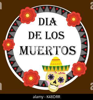 Le Jour des morts Mexican holiday Greeting card, affiche, flyer. Dia de los muertos modèle pour votre conception. Banque D'Images