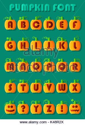 Police de citrouille. Alphabet artistique. Citrouilles géométrique orange rouge avec des signes et symboles. Jack Banque D'Images
