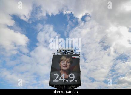 Kurort Altenberg, Allemagne. 12Th Mar, 2017. Une grande campagne électorale de la CDU affiche présentant la face Banque D'Images