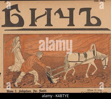 Couverture du journal satirique russe Bich (Whip), avec une illustration d'un paysan homme labourant un champ avec Banque D'Images