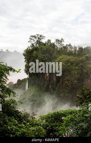 Dans la rivière rocher iland de Iguazu Falls View de l'Argentine Banque D'Images