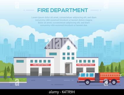 Fire Department - illustration vectorielle moderne avec place pour le texte. Contexte urbain. Joli parc autour. Banque D'Images