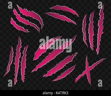 Rayures roses sur fond transparent - moderne - ensemble d'icônes vectorielles. 15 points de griffes d'animaux sauvages, Banque D'Images