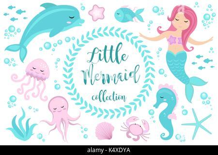 Cute Little Mermaid jeu et Underwater World. La princesse de conte de sirène et dauphin, pieuvre, hippocampe, poisson, Banque D'Images