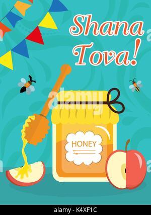 Roch Hachana affiche, flyer, invitation, carte de vœux. Shana Tova est un modèle pour votre design avec des symboles Banque D'Images