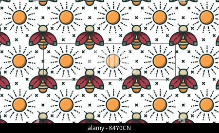 Image vectorielle de l'abeille et du soleil Banque D'Images