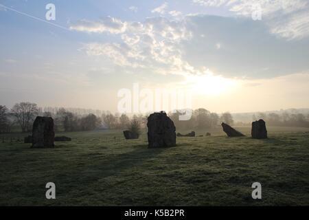 Stanton drew stone circles à Somerset, Royaume-Uni Banque D'Images