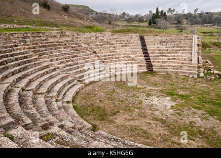 Le théâtre de l'ancienne ville grecque de Morgantina, en Sicile Banque D'Images