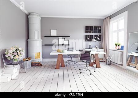 Salle d'étude moderne classique avec poele suédois, table et fauteuils. Concept 3D Rendering Banque D'Images