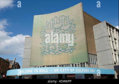 Les trois navires de la mosaïque murale sur l'ancien co-op/ bhs immeuble dans le centre de Kingston Upon Hull, uk Banque D'Images