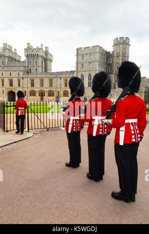 Soldats de l'armée britannique / Windsor Castle Guard ( 7 ) Entreprise Coldstream Guards vêtu du costume traditionnel Banque D'Images