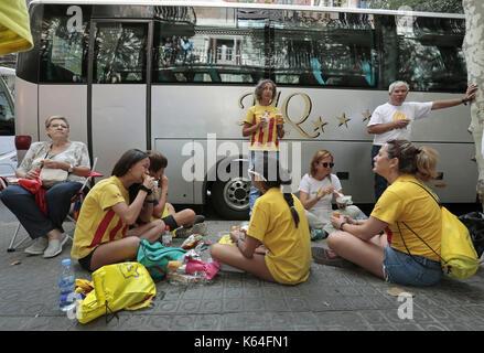 Barcelone, Espagne. Sep 11, 2017. Les gens de toutes les provinces de la Catalogne sont venus célébrer la Journée Banque D'Images