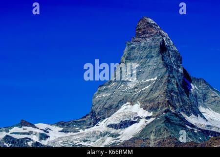 L'Est et la face nord du mont Cervin, Monte Cervino, avec ciel bleu clair Banque D'Images