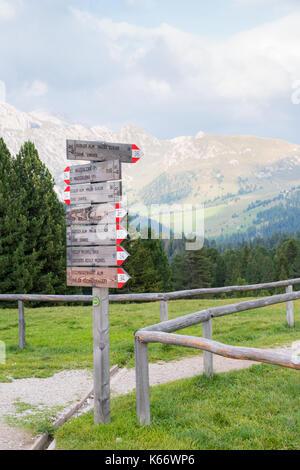 Alpe di Siusi ou Alpe di Siusi, alto adige ou sentier de randonnée du Tyrol du sud, dans les dolomites après les Banque D'Images