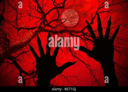 Concept d'halloween, zombie ascenseurs Haut les mains sur des branches sèches background Banque D'Images
