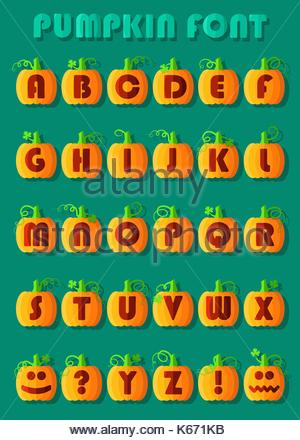 Police de citrouille orange. L'alphabet artistique. citrouilles géométrique rouge avec des signes et symboles. de Banque D'Images