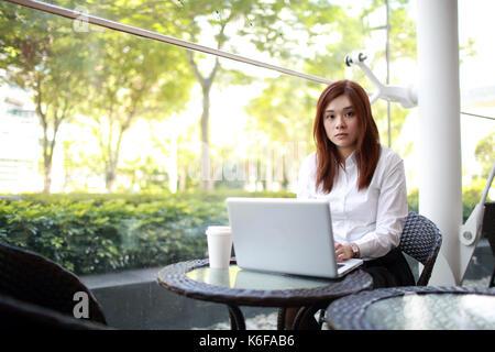 Office lady ol travaillant dur dans cafe Banque D'Images