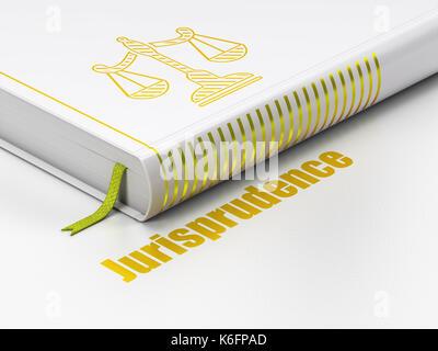 Concept de droit: livre fermé avec des échelles d'or icône et texte jurisprudence sur marbre, fond blanc, 3D Rendering Banque D'Images