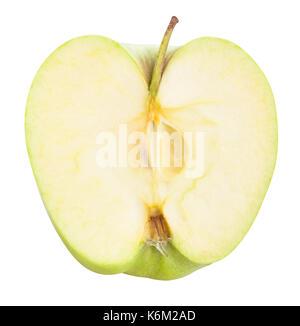 Tranches de pomme verte isolé chemin Banque D'Images