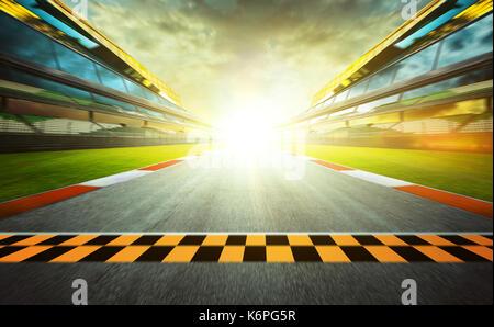 Vue de l'infini vide international race track à partir d'asphalte ou de la fin d'une ligne, les effets de flou de Banque D'Images