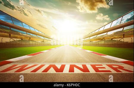 Vue de l'infini vide avec piste de course internationale d'asphalte mot gagnant ligne de départ . soir scène . Banque D'Images