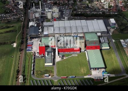Vue aérienne de l'usine Nescafé Nestlé UK Ltd, Tutbury, Burton upon Trent, états-majors, UK Banque D'Images
