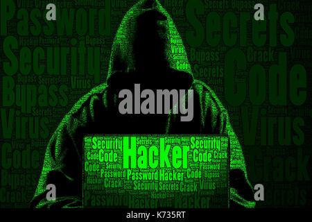 Concept art hacker fait uniquement de mots sur le sujet. Banque D'Images