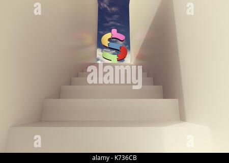 Le rendu 3D d'escalier avec blocs puzzle dollar contre le ciel bleu Banque D'Images