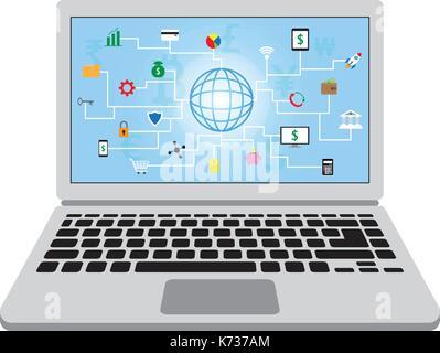 22 icônes fintech autour d'un globe avec fond bleu et plusieurs devises dans un écran d'ordinateur portable en mettant Banque D'Images