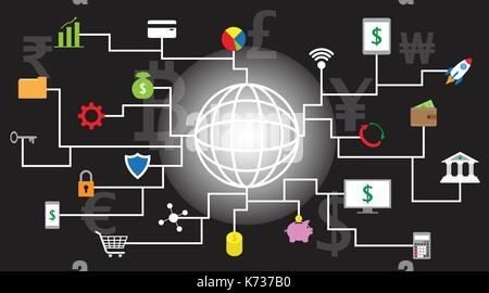 22 icônes fintech autour d'une ligne de brillants globe avec fond noir et des devises multiples impliquant dans Banque D'Images