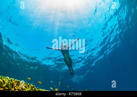 Happy Family - fille plonger sous l'eau avec les poissons tropicaux dans la mer de corail. Piscine d'eau de vie Banque D'Images
