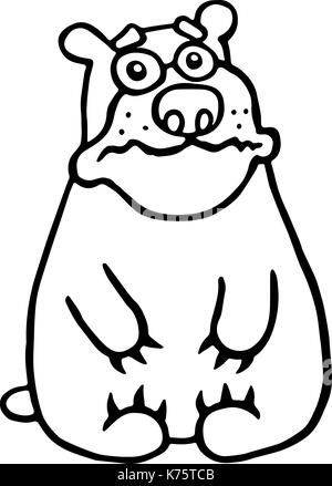 Mignon ours triste. vector illustration. funny cartoon animal caractère. Banque D'Images