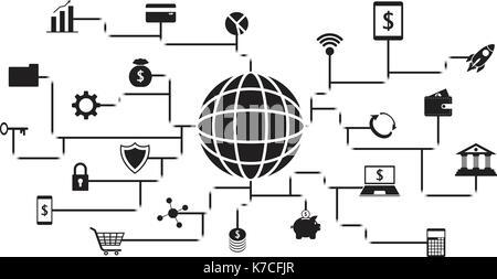 Fintech vecteur icônes noires autour d'un globe en impliquant la technologie financière, bancaire, et l'investissement Banque D'Images