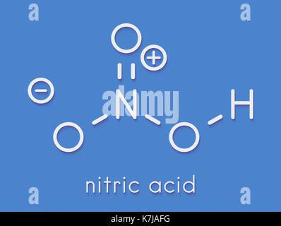 L'acide nitrique (HNO3) molécule d'acide minéral fort. utilisé dans la production d'engrais et d'explosifs. formule Banque D'Images