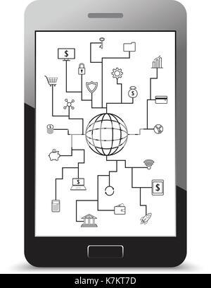 Fintech vecteur icônes ligne autour d'un globe sur la technologie financière, bancaire, et l'investissement avec Banque D'Images