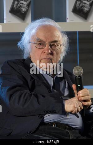 L'Italie. 16 sep, 2017. De Turin en Italie. 16 septembre 2017. L'écrivain roumain Norman Manea lors d'une conférence. Banque D'Images