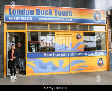 Londres, Royaume-Uni. 18 sep, 2017. l'amphibious london duck tours d'exploitation cesse après avoir perdu l'accès Banque D'Images