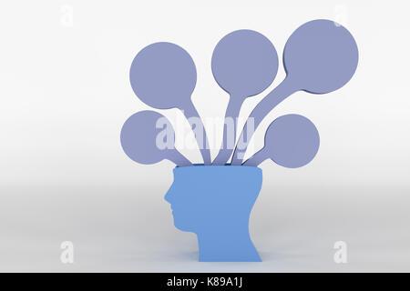 Le rendu 3D de la tête avec une idée Banque D'Images