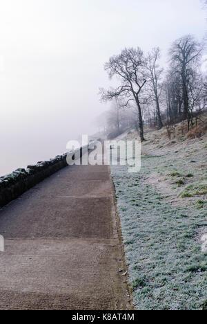 Frosty, foggy sentier côtier.