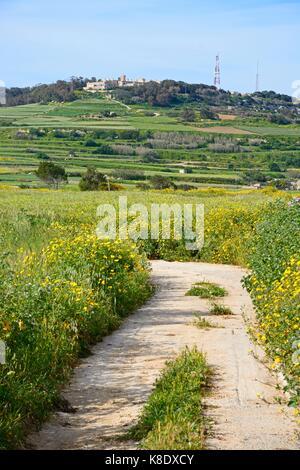 Vue sur Champs et prairies vers imtarfa, de Malte, de l'Europe.