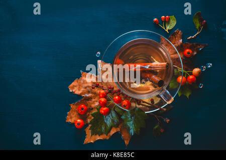 La vie encore automne sombre avec tasse de thé, de feuilles, de baies et de cannelle sur un fond humide. plateau Banque D'Images