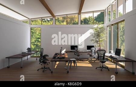 Un design contemporain, lumineux de l'espace de bureau de style eco vide avec des chaises, d'un bureau, d'ordinateurs Banque D'Images