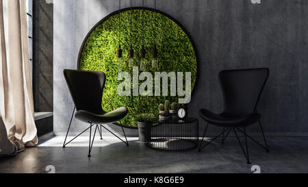 Deux chaises avec petite table ronde permanente par moss l'art de mur Banque D'Images