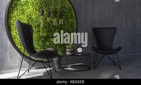 Deux chaises avec une table ronde permanente par moss l'art de mur Banque D'Images