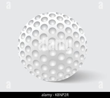 Balle de Golf vecteur réaliste. Droit de l'équipement de golf, ball illustration isolé sur fond gris avec ombre Banque D'Images