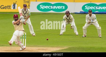 London,UK.21 Septembre 2017. James Hildreth batting pour Somerset contre Surrey sur la troisième journée du Championnat du comté de Specsavers match à l'Ovale. David Rowe/ Alamy Live News