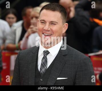 Logan lucky uk film première au vue west end, Leicester Square, Londres avec: Channing Tatum où: London, Royaume Banque D'Images