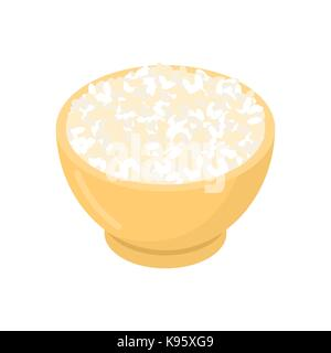 Riz ROND à bol en bois isolée. groats en bois plat. grain sur fond blanc. vector illustration