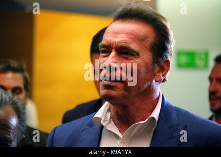 Barcelone, Espagne - 22 septembre 2017: l'acteur et ancien gouverneur de l'Etat de Californie Arnold Schwarzenegger Banque D'Images
